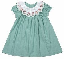 James & Lottie Girls Green Check Lucy Dress - Embroidered Christmas Wreath Scallop Collar
