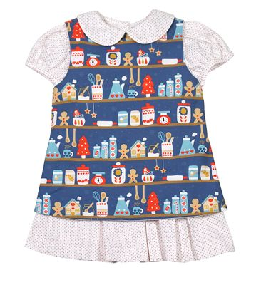 James & Lottie Girls Blue / Green Christmas Baking Dress Saver Set - with White / Red Dots Delaney Dress