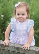 James & Lottie Girls Pink & Blue Check Ruthie Bubble - Side Ties