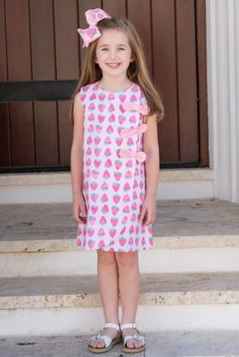 James & Lottie Girls Pink Strawberry Blythe Dress - Accessories NOT Included