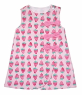 James & Lottie Girls Pink Strawberry Blythe Dress with Bows on Front