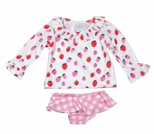 James & Lottie Girls Tally Pink Gingham Berry Sweet Rash Guard Swimsuit Set