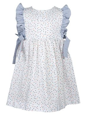 James & Lottie Girls Orange & Blue Stars Abigail Starfish Dress - Blue Side Bows