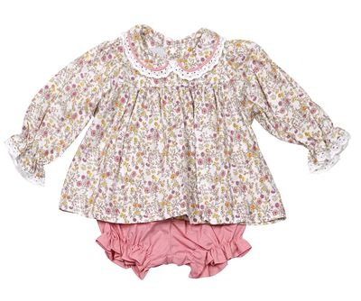 James & Lottie Baby Girls Lucy Bloomers Set - Blossom Print Top with Dusty Pink Bloomers
