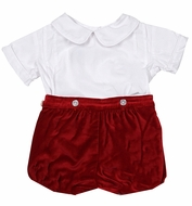 James & Lottie Toddler Boys Red Velvet Christmas Button On Shorts