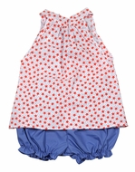 James & Lottie Toddler Girls Red Stars / Blue Mia Bloomers Set - Bow on Back!
