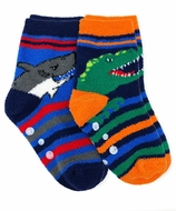 Jefferies Socks - Boys Fuzzy Slipper Socks - Blue Shark / Green Dinosaur - 2 Pack
