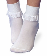 Jefferies Socks Girls White Eyelet Lace Socks
