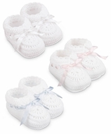 Jefferies Socks Newborn Baby Girls / Boys Hand Crochet White Ribbon Trim Booties