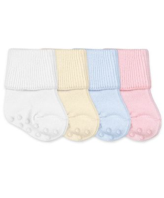 Jefferies Socks Non-Skid Smooth Toe Organic Cotton Turn Cuff Socks - White / Blue / Pink