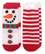Jefferies Socks - Unisex Fuzzy Slipper Socks - Red Candy Cane Stripes / Holiday Snowman - 2 Pack