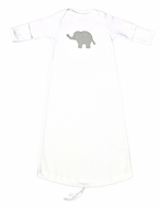 JJ Gowns Baby Boys White Sack Gown - Applique Elephant - Gray Check