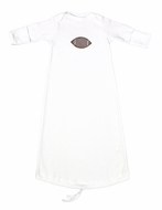 JJ Gowns Baby Boys White Sack Gown - Applique Football - Brown Check