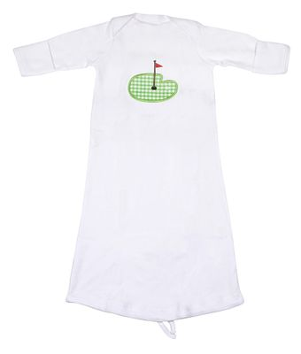 JJ Gowns Baby Boys White Sack Gown - Applique Golf - Green Check