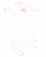 JJ Gowns Baby Girls White Sack Gown - Applique Elephant - Pink Check