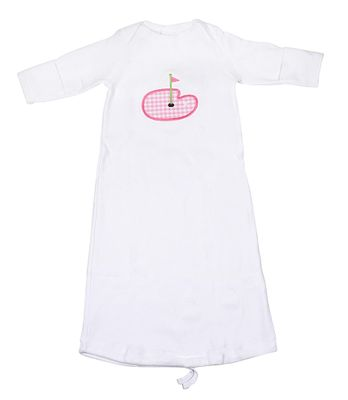JJ Gowns Baby Girls White Sack Gown - Applique Golf - Pink Check