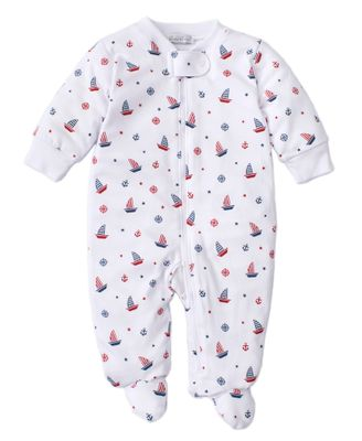 Kissy Kissy Baby Boys Blue / Red Sailboats Print Footie with Zipper