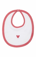 Kissy Kissy Baby Bib - White with Red Trim & Christmas Candy Canes