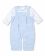 Kissy Kissy Baby Boys Blue Bearly Believable Teddy Bear Overall & Onesie