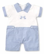 Kissy Kissy Baby Boys Blue Check Easter Bunny Short Playsuit Romper