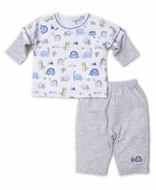 Kissy Kissy Baby Boys Blue / Gray Dino Crew Pants Set