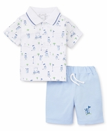Kissy Kissy Baby Boys Blue First Golf Tee Shorts with Polo Shirt