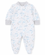 Kissy Kissy Baby Boys Blue / Gray Roarsome Dinosaur Print Footie with Zipper