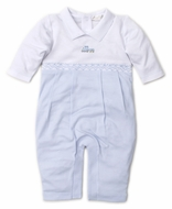 Kissy Kissy Baby Boys Blue Premier Choo Choo Train Smocked Playsuit