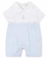 Kissy Kissy Baby Boys Blue Premier Sail Away - Smocked Sailboat Playsuit Romper