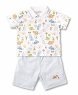 Kissy Kissy Baby Boys Blue Shorts with Dino Dash Polo Shirt