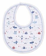 Kissy Kissy Baby Boys Blue Sky Riding Airplanes Print Bib