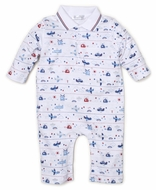 Kissy Kissy Baby Boys Blue Sky Riding Airplanes Print Romper with Collar