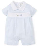 Kissy Kissy Baby Boys Blue Stripe Romper - Embroidered Elephant & Alligator