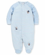Kissy Kissy Baby Boys Blue Striped Fall Sports Footie