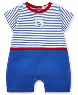 Kissy Kissy Baby Boys Blue Striped Romper - Embroidery Whales - Red Trim