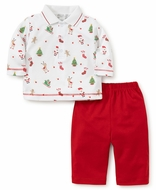 Kissy Kissy Baby Boys Christmas Print Polo Shirt with Red Pants - Reindeer Pocket