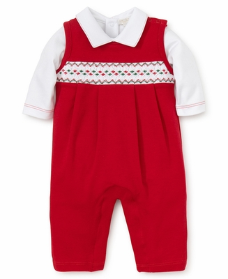 Kissy Kissy Baby Boys Christmas Red Smocked Longall With Shirt