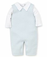 Kissy Kissy Baby Boys Classic Jacquard Overall Set with Shirt - Blue