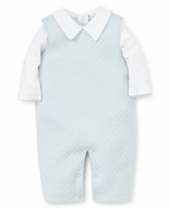 Kissy Kissy Baby Boys Classic Jacquard Overall with Shirt - Blue