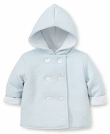 Kissy Kissy Baby Boys Classic Jacquard Padded Jacket with Hood - Blue