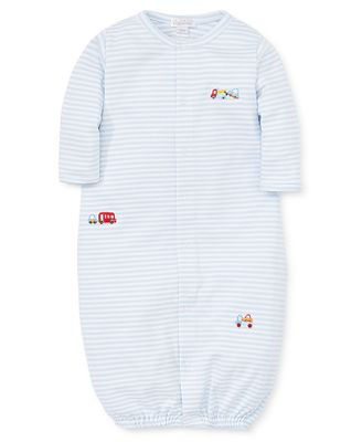 Kissy Kissy Baby Boys Converter Gown - Embroidered Cars on Blue Stripes
