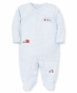 Kissy Kissy Baby Boys Footie - Embroidered Traffic on Blue Stripes