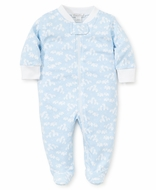 Kissy Kissy Baby Boys Giraffe Print Footie with Zipper - Blue