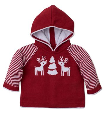 Kissy Kissy Baby Boys Red Reindeer Knits Sweater with Hood