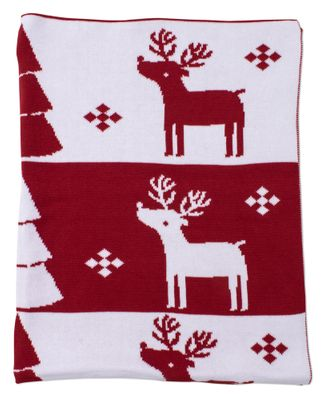 Kissy Kissy Baby Boys / Girls Red / White Reindeer Sweater Knit Blanket