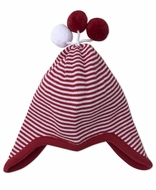 Kissy Kissy Baby Boys / Girls Red Striped Sweater Knit Hat with Pom Poms