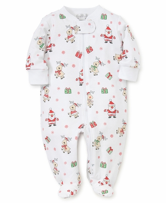 Kissy Kissy Baby Boys / Girls Santa Print Christmas Footie with Zipper