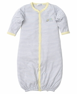 Kissy Kissy Baby Boys Gray Stripes / Yellow Trim Elephant Hugs Converter Gown