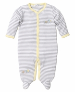 Kissy Kissy Baby Boys Gray Stripes / Yellow Trim Elephant Hugs Footie
