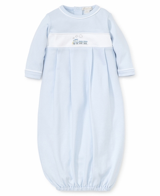 Kissy Kissy Baby Boys Light Blue Premier Train Embroidered Gown